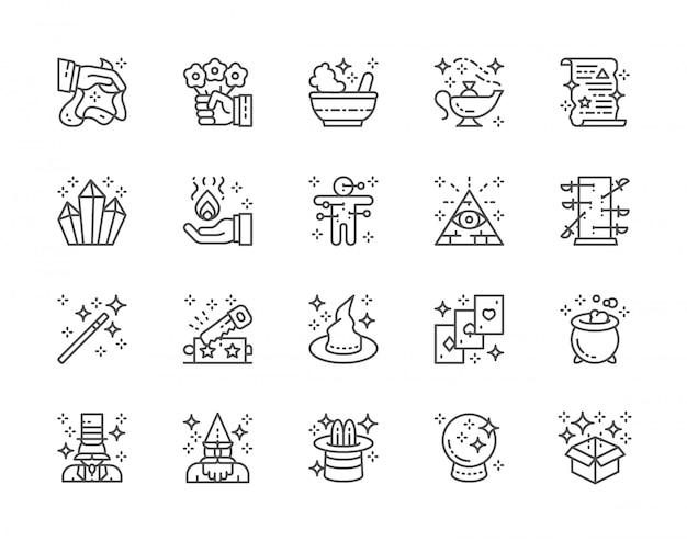 Conjunto de ícones de linha show de mágica. chapéu de bruxa, ilusionista, mago, circo e muito mais.