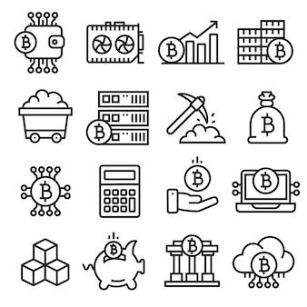 Conjunto de ícones de linhas bitcoin crypto