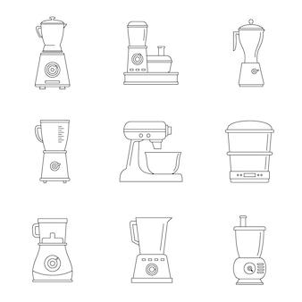 Conjunto de ícones de liquidificador processador de alimentos