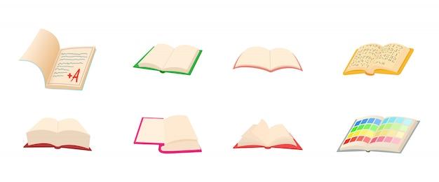 Conjunto de ícones de livro aberto