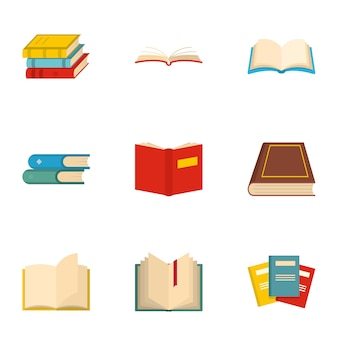 Conjunto de ícones de livro. conjunto de desenhos animados de 9 ícones de livro