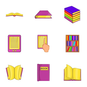 Conjunto de ícones de livro, estilo cartoon