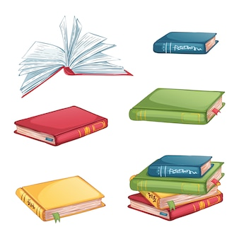 Conjunto de ícones de livros em diferentes ângulos