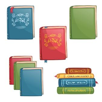 Conjunto de ícones de livros. material escolar isolado