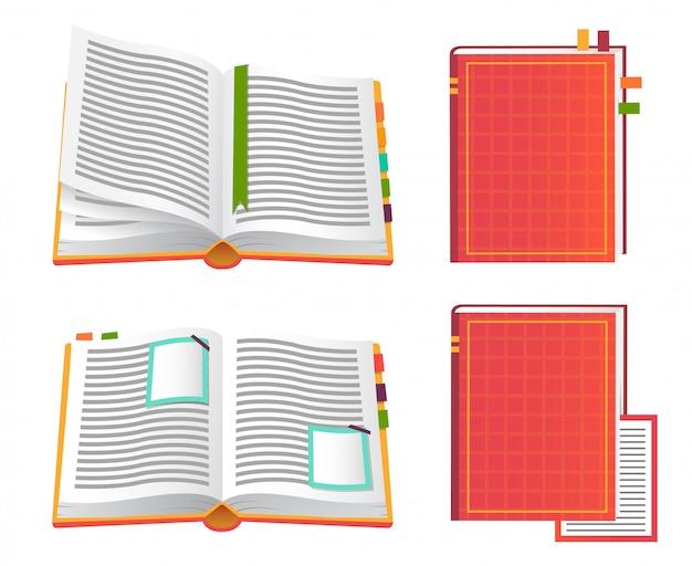 Conjunto de ícones de livros vermelhos.