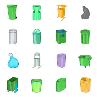 Conjunto de ícones de lixeira