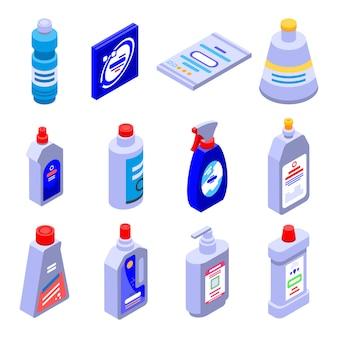 Conjunto de ícones de lixívia, estilo isométrico