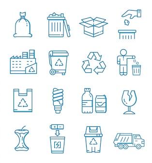 Conjunto de ícones de lixo com estilo de estrutura de tópicos