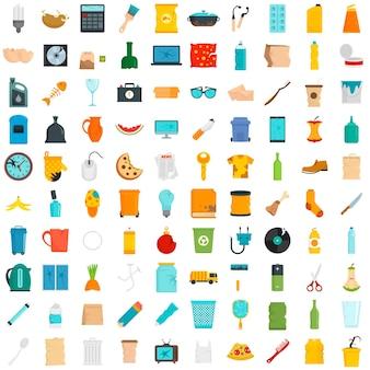 Conjunto de ícones de lixo. conjunto plano de ícones de vetor de lixo isolado no fundo branco