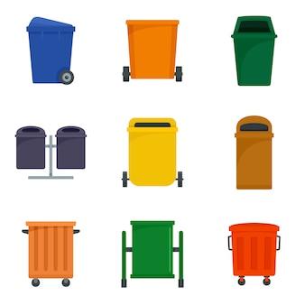 Conjunto de ícones de lixo de lixeira de separação