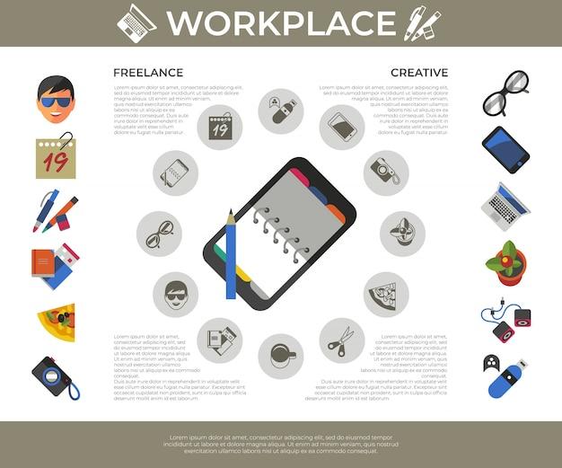 Conjunto de ícones de local de trabalho criativo freelancer