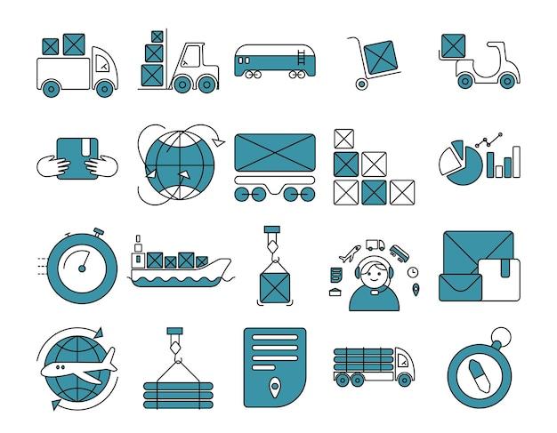Conjunto de ícones de logística entrega porta a porta em tempo, atendimento ao cliente, etc. ícones de contorno de vetor