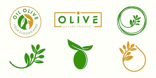 Conjunto de ícones de logotipo de azeite de oliva criativo modelo de vetor