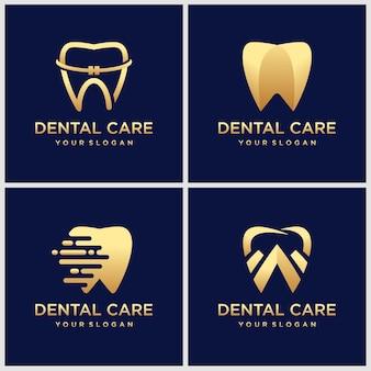 Conjunto de ícones de logotipo de clínica odontológica com formato de dente luxuoso com detalhes em dourado. faça este design