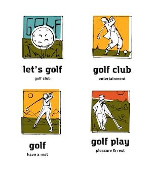 Conjunto de ícones de logotipo de clube de golfe.