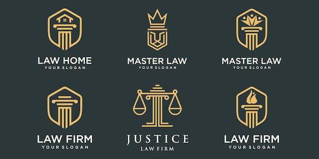 Conjunto de ícones de logotipo de escritório de advocacia elemento de pilar criativo modelo de design de logotipo de conceito
