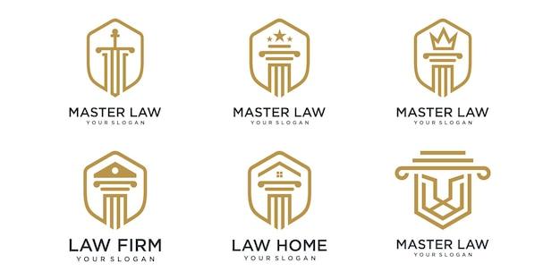 Conjunto de ícones de logotipo de escritório de advocacia. molde criativo do projeto do logotipo do conceito do pilar.