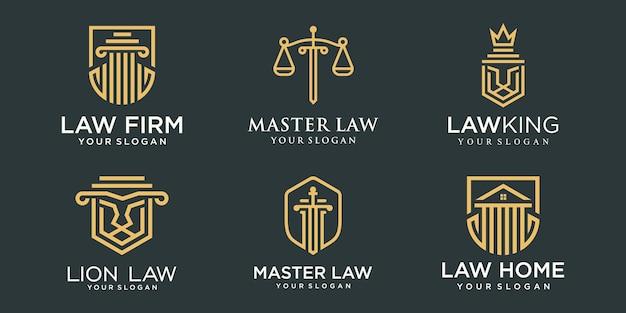 Conjunto de ícones de logotipo de escritório de advocacia. pilar criativo combinado com o modelo de design de logotipo de conceito.