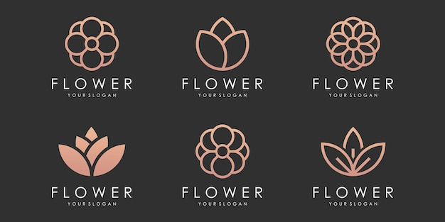 Conjunto de ícones de logotipo de flor vetor de modelo de design floral