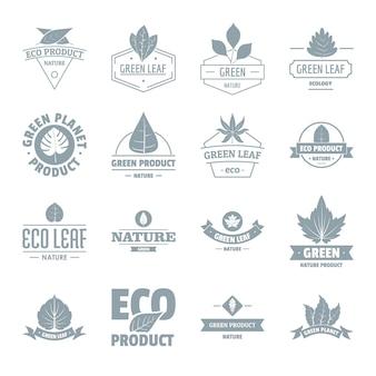 Conjunto de ícones de logotipo de folha eco