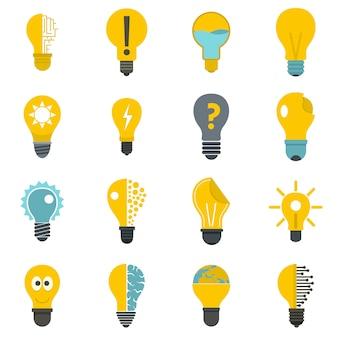 Conjunto de ícones de logotipo de lâmpada em estilo simples