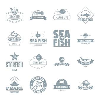 Conjunto de ícones de logotipo de mar de peixe