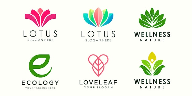 Conjunto de ícones de logotipo de ornamento de flor de lótus abstrato conjunto de modelo de design de ioga
