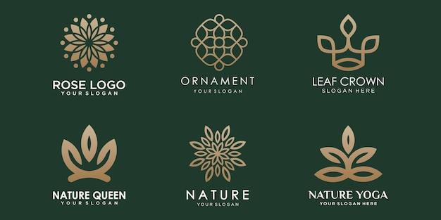 Conjunto de ícones de logotipo de ornamento floral abstrato vetor de modelo de design de natureza