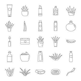 Conjunto de ícones de logotipo de planta de aloe vera