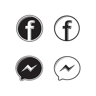 Conjunto de ícones de logotipo do facebook