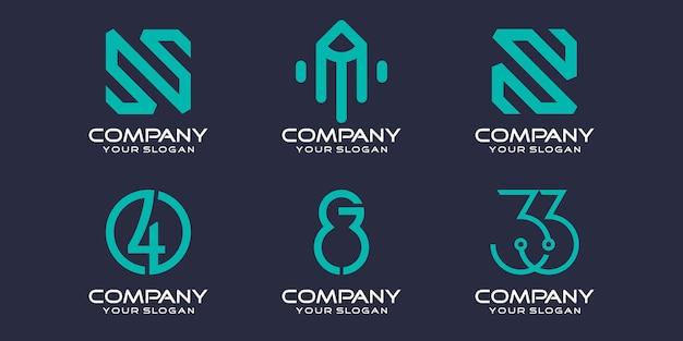 Conjunto de ícones de logotipo simples, modelo de design de logotipo de elemento digital ou de dados