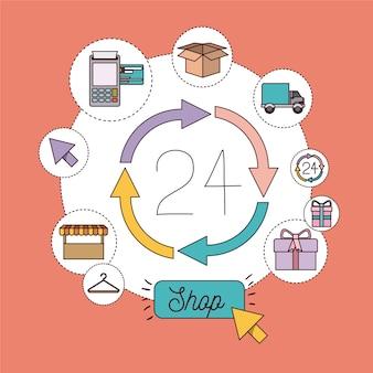 Conjunto de ícones de loja 24 horas
