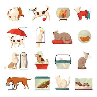 Conjunto de ícones de loja de animais