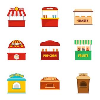 Conjunto de ícones de loja de férias, estilo cartoon