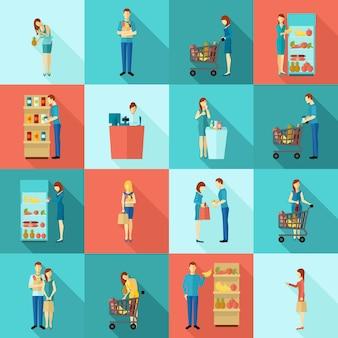 Conjunto de ícones de longa sombra de compradores