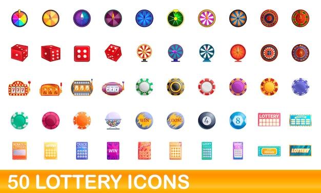 Conjunto de ícones de loteria. ilustração dos desenhos animados de ícones de loteria em fundo branco