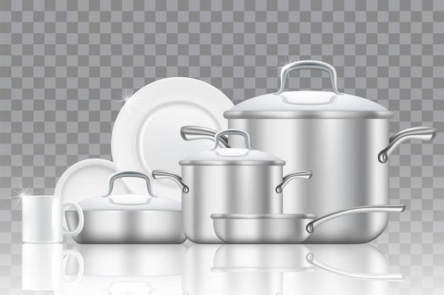 Conjunto de ícones de louças e utensílios de cozinha.