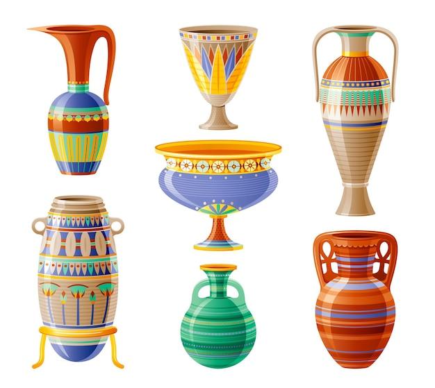 Conjunto de ícones de louças egípcias. vaso, pote, ânfora, jarro. antiga decoração geométrica de ornamento floral do antigo egito. ilustração 3d dos desenhos animados