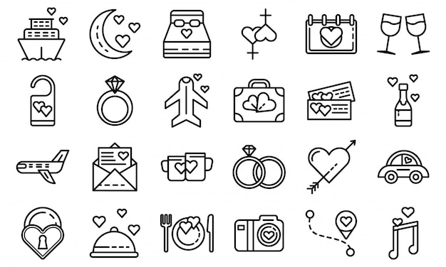 Conjunto de ícones de lua de mel, estilo de estrutura de tópicos
