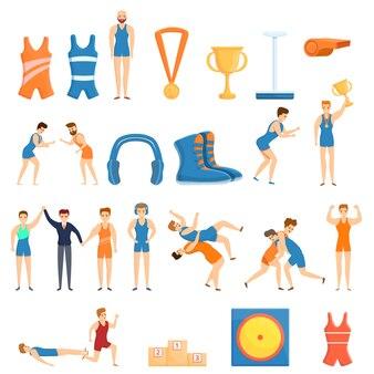 Conjunto de ícones de luta greco-romana, estilo cartoon