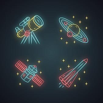 Conjunto de ícones de luz de néon de astronomia. exploração espacial. telescópio, sistema solar, satélite artificial, foguete. astrofísica.