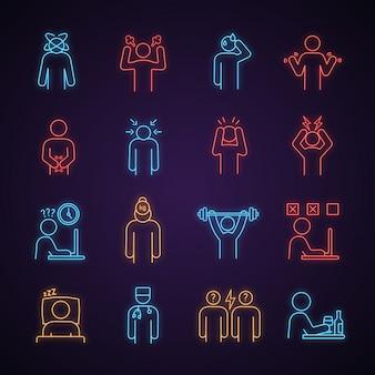 Conjunto de ícones de luz de néon de estresse emocional