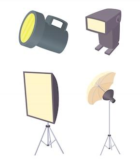 Conjunto de ícones de luz do flash