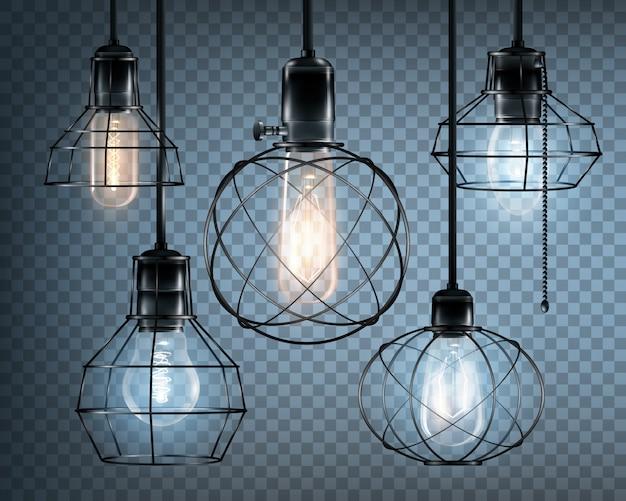 Conjunto de ícones de luzes de estilo loft