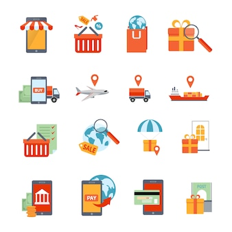 Conjunto de ícones de m-commerce