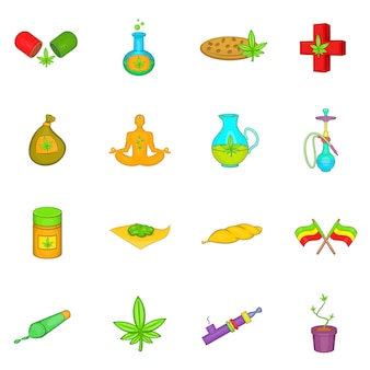 Conjunto de ícones de maconha medicinal
