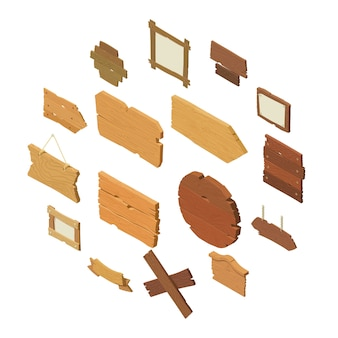 Conjunto de ícones de madeira de estrada de sinalização, estilo isométrico
