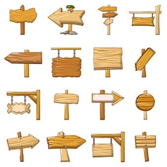 Conjunto de ícones de madeira de estrada de sinalização