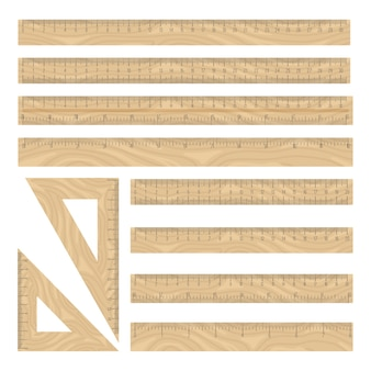 Conjunto de ícones de madeira de réguas, coleção de instrumentos de geometria reta e triângulo em branco