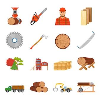 Conjunto de ícones de madeira de serraria
